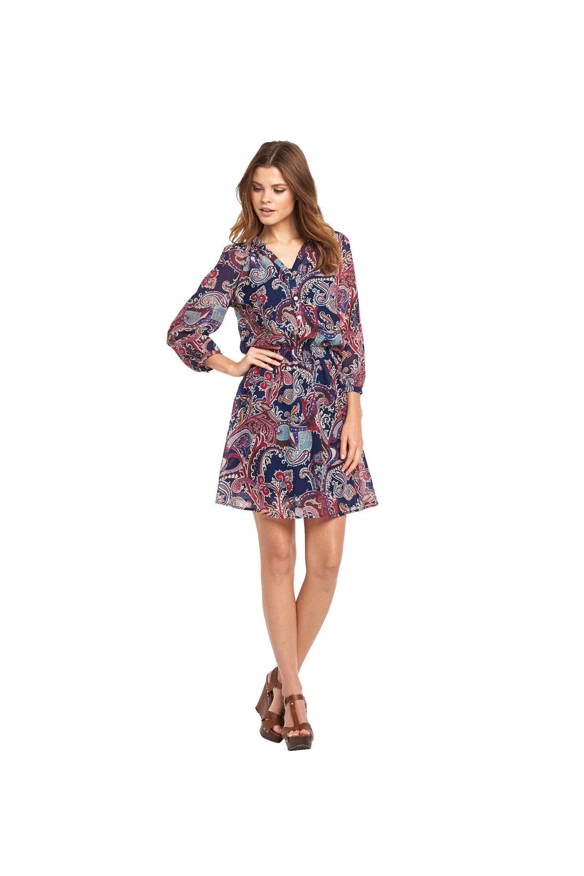 South Boho Printed Shirred Dress.