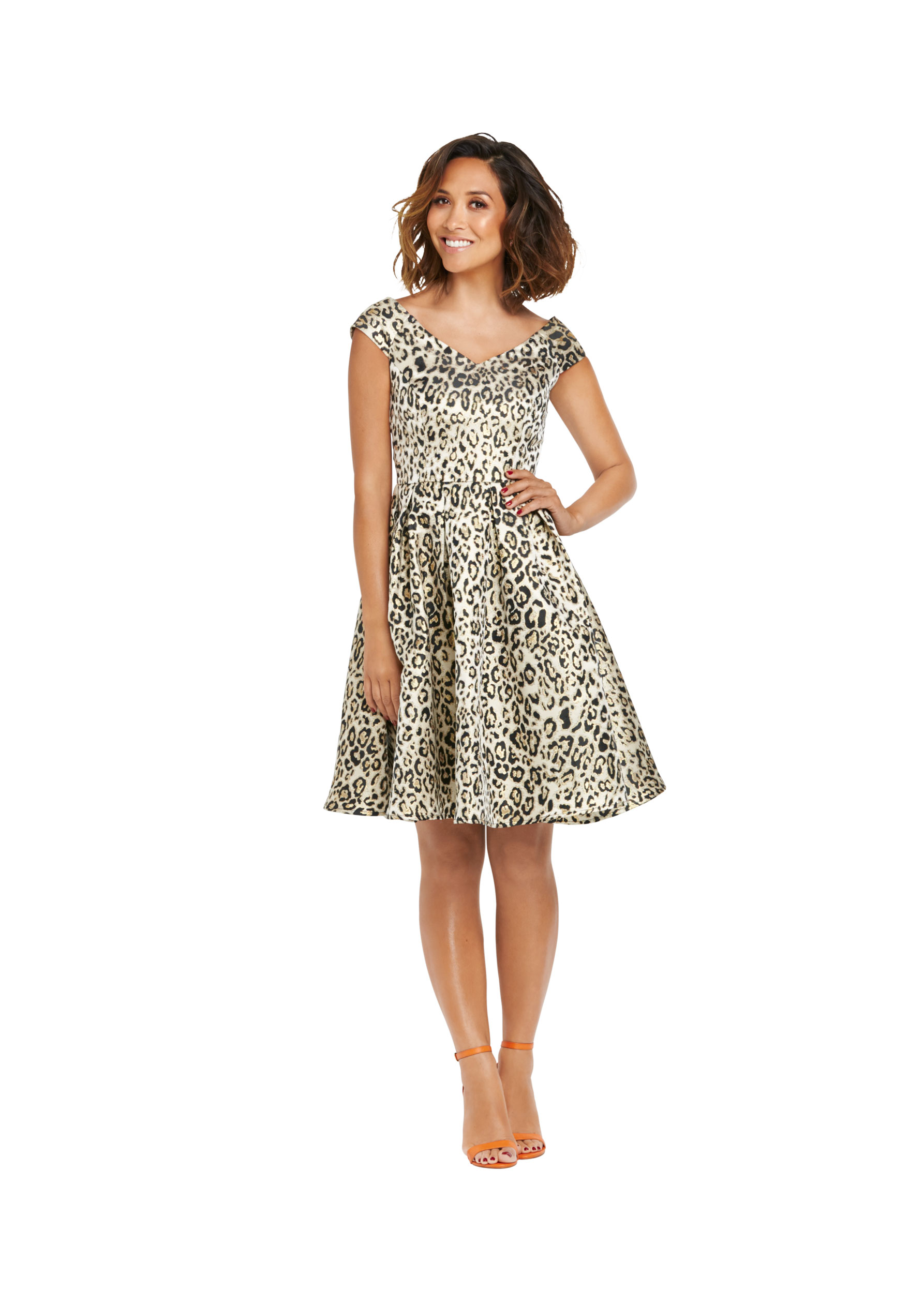 Myleene Animal Jacquard Bardot Prom Dress