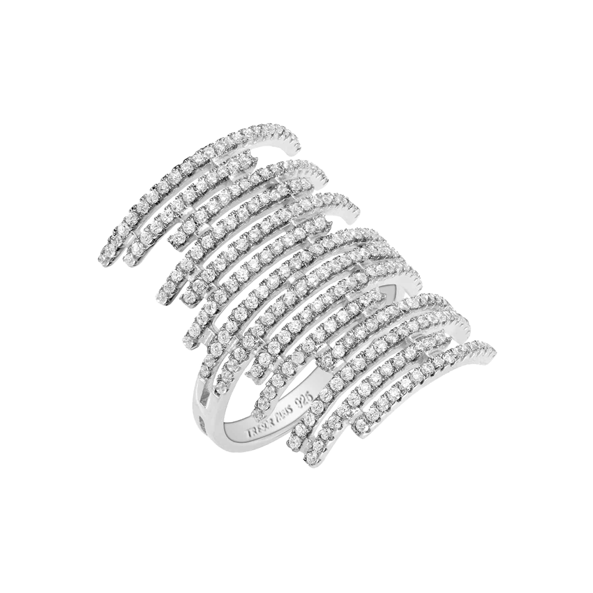 Tresor Paris Sterling Silver White Crystal Multi Row Statement Ring