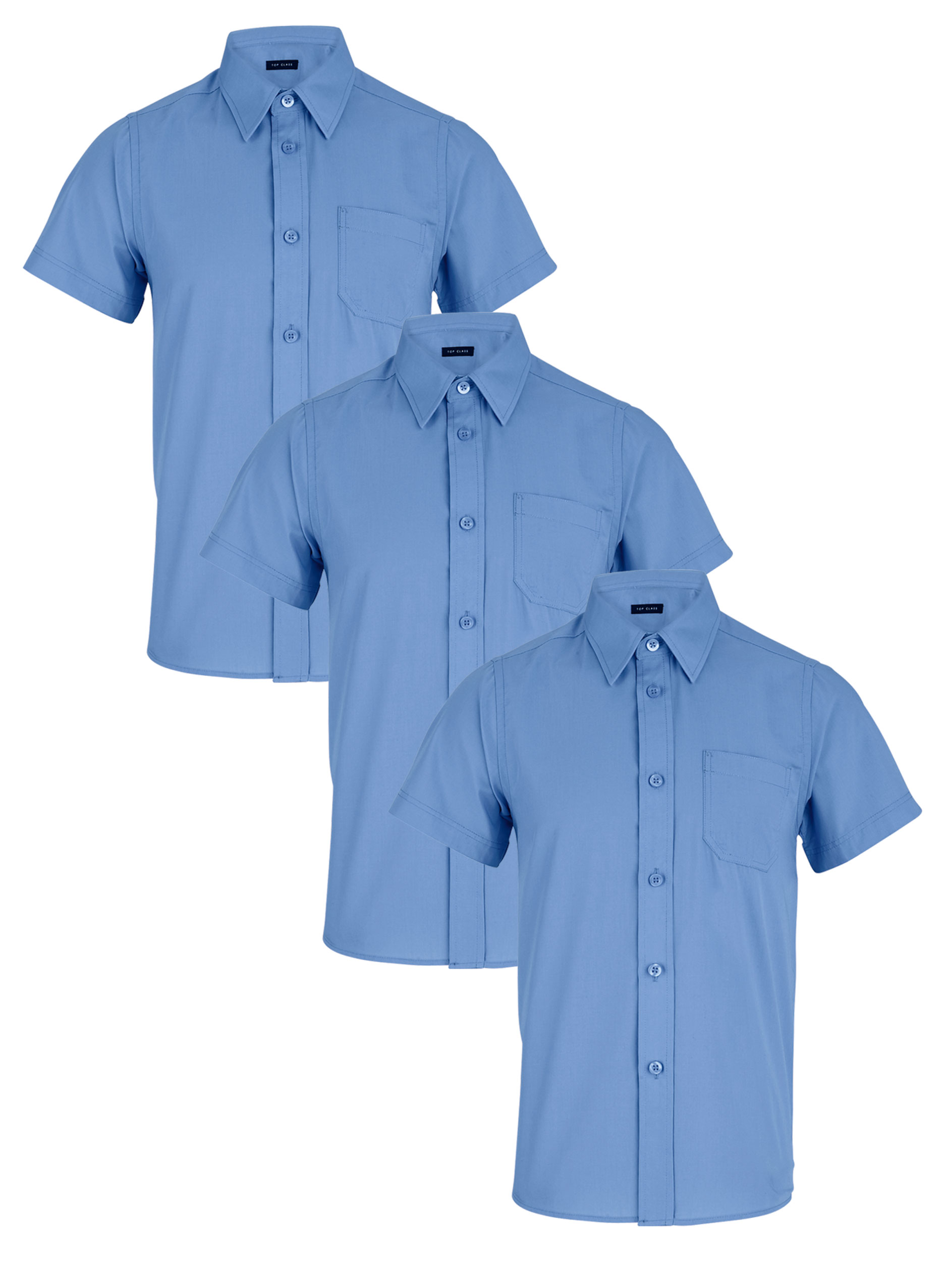 Top Class Boys 3 Pack of Short Sleeved School Shirts