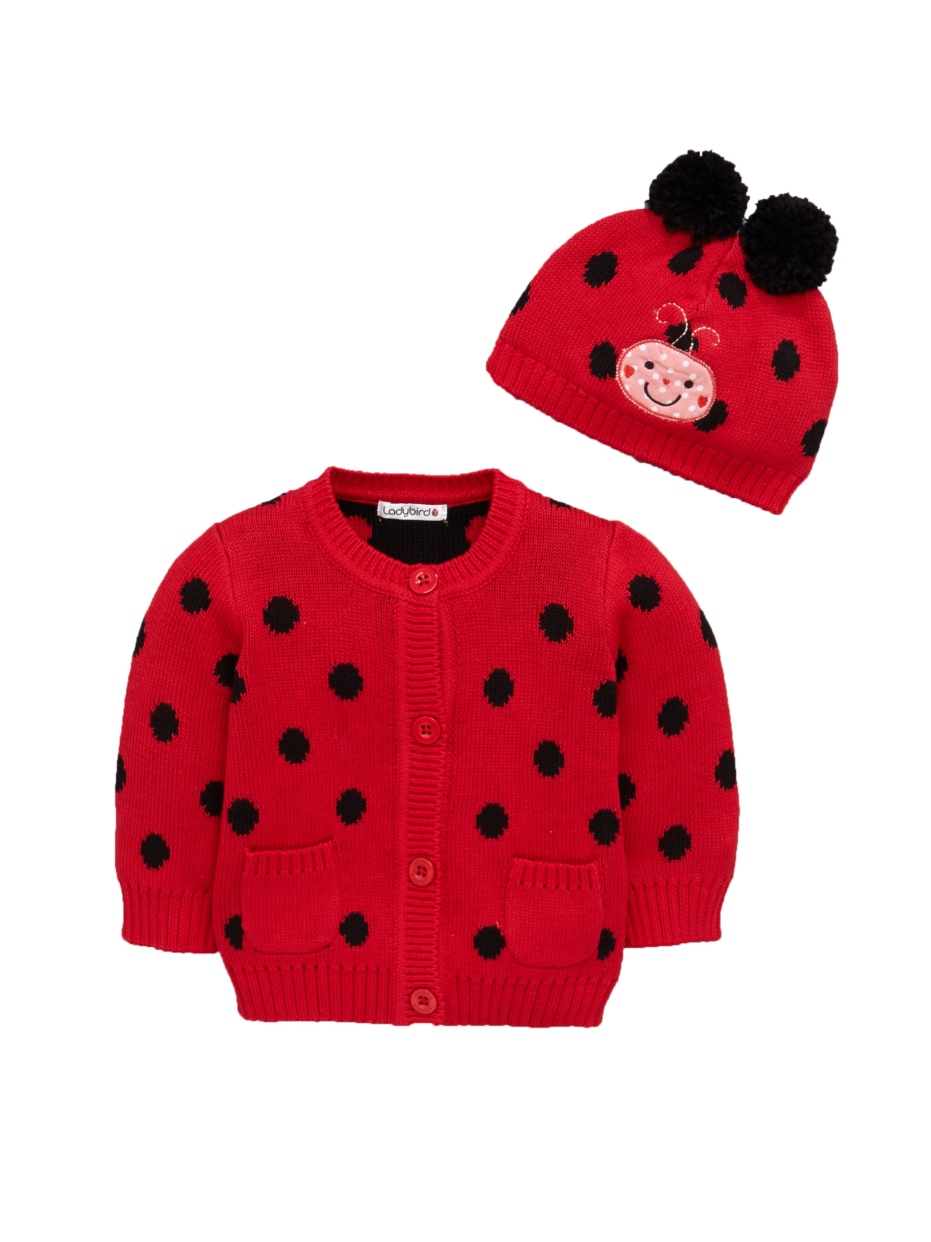 Ladybird Baby Girls Knitted Pom Pom Hat And Cardigan Set.