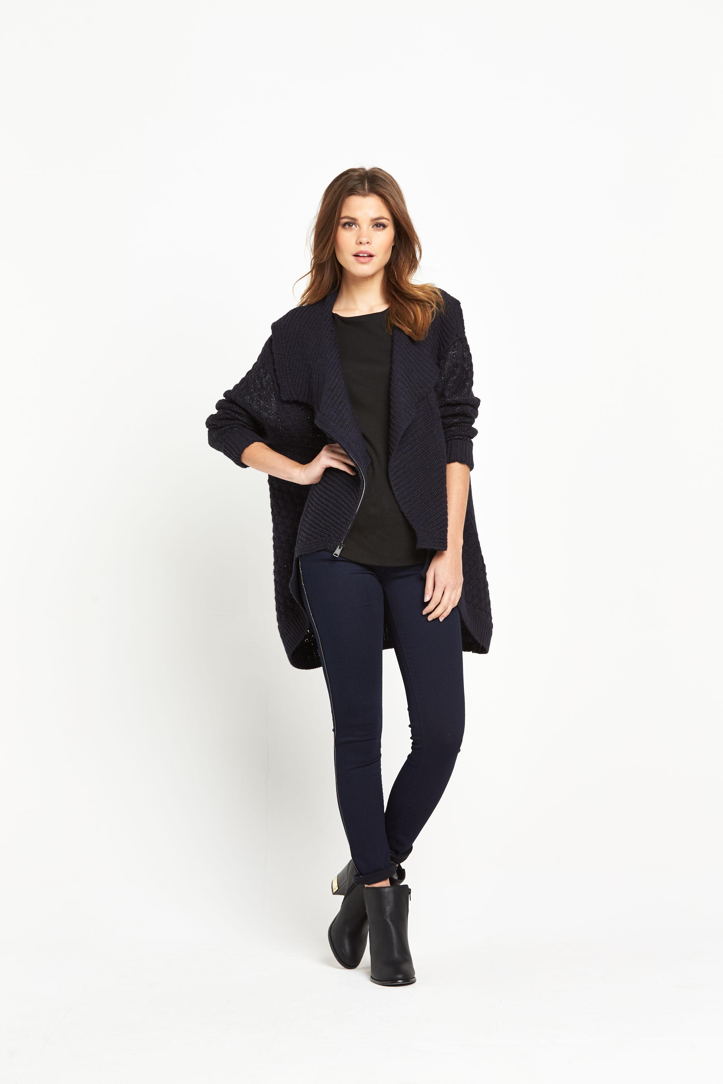 Replay Asymmetric Zip Up Cardigan
