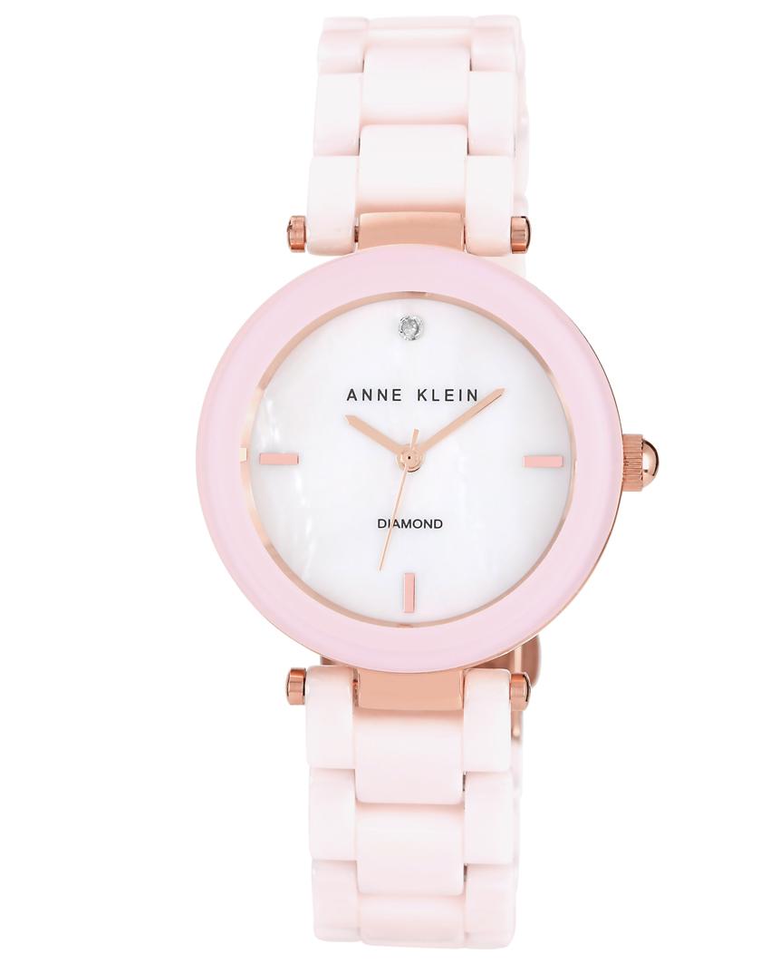 Anne Klein Mineral Genuine Diamond Blush Pink Ceramic Ladies Watch- AKN1018RGLP