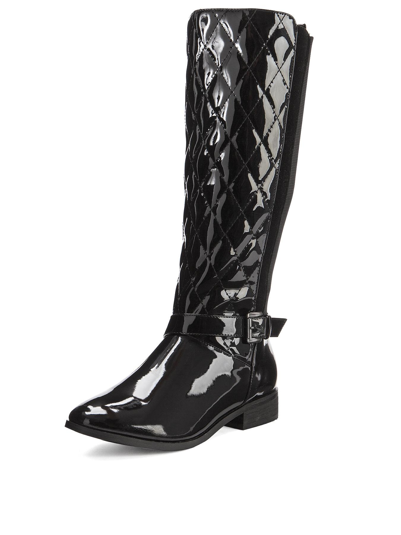 Shoe Box Caroline Quilted Patent Elastic Back Calf Boots