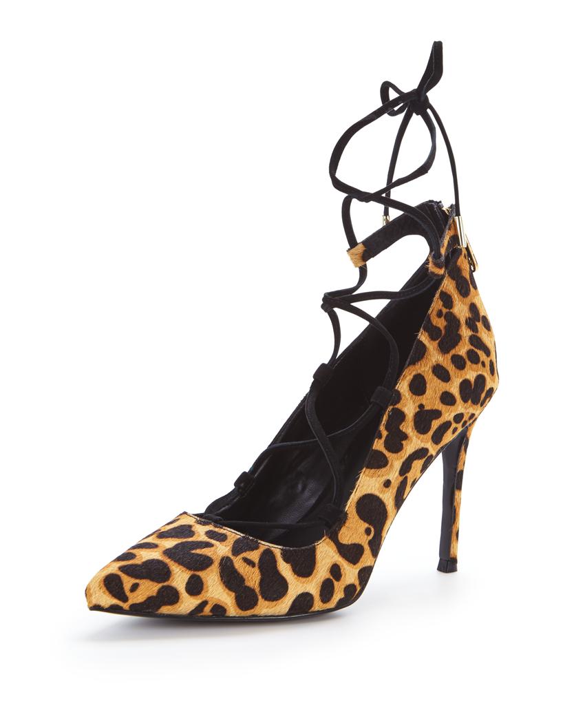 KG Divine Leopard Tie Front Court Shoes