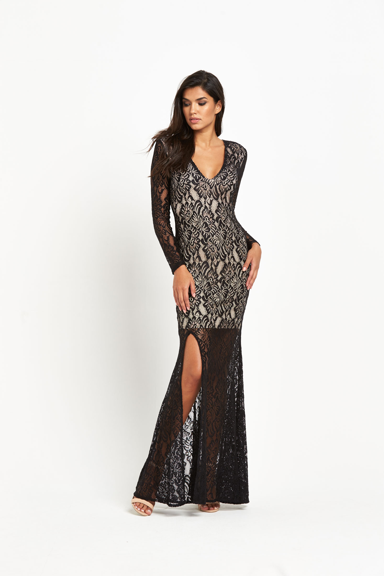 Forever Unique Kelsie Lace Maxi Dress