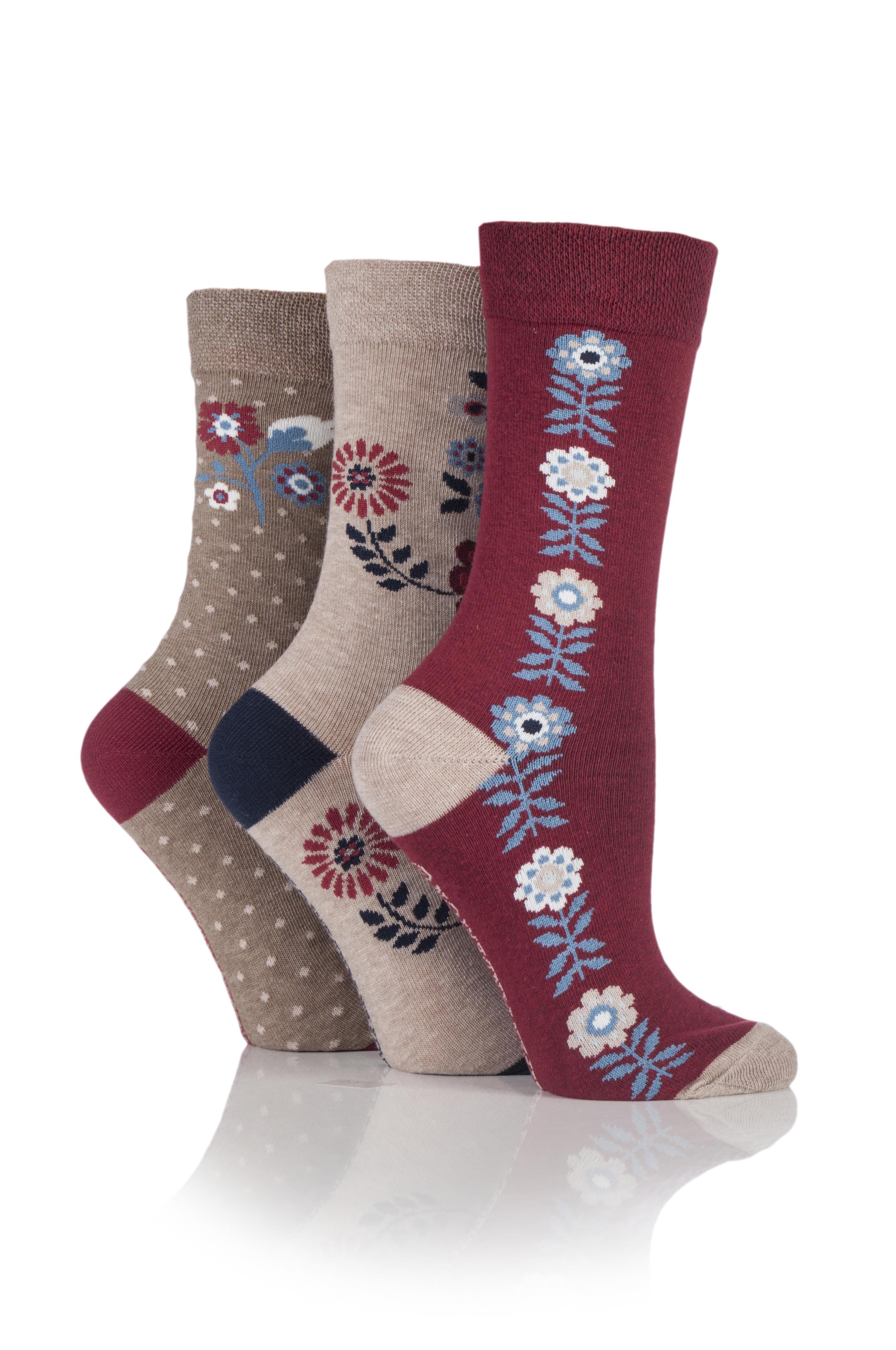 Jennifer Anderton Pack of 3 Floral Design Socks.