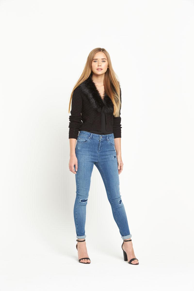 Miss Selfridge Short Fur Collar Jacket