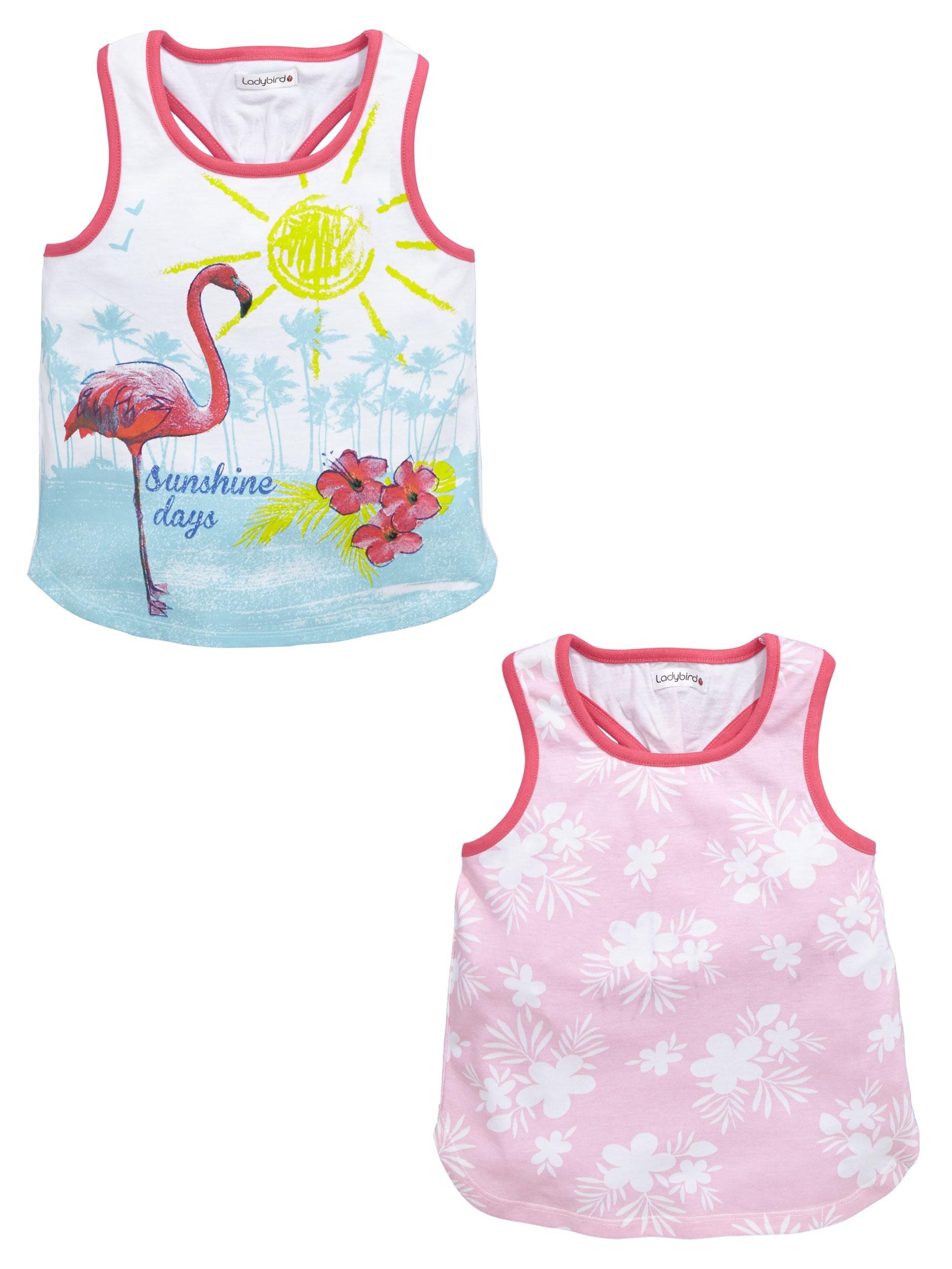 Ladybird Girls 2 Pack Tropical Vests
