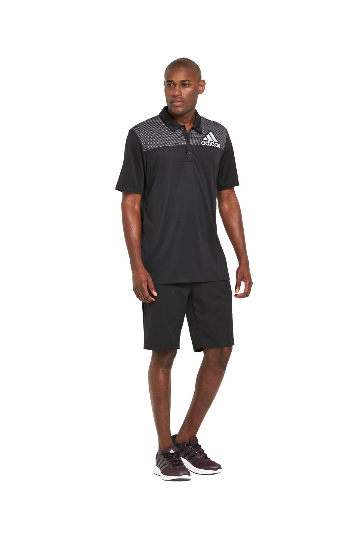Adidas Mens Golf Big Logo Dot Print Polo Shirt