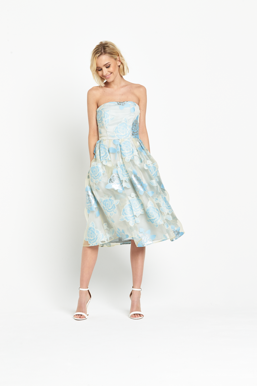 Miss Selfridge Blue Floral Bandeau Burnout Organza Midi Dress