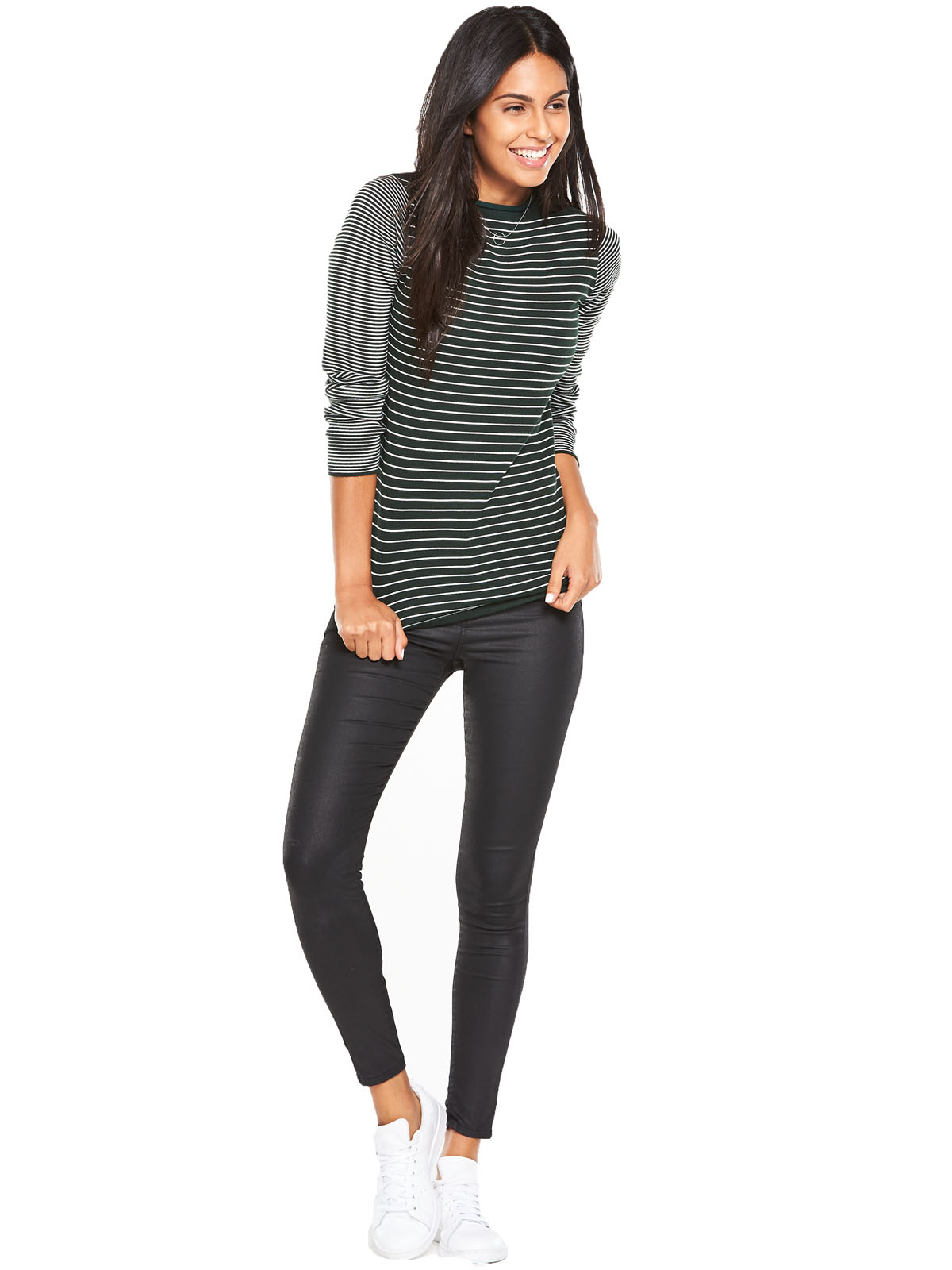 V By Very Funnel Neck Stripe Compact Knit Jumper.