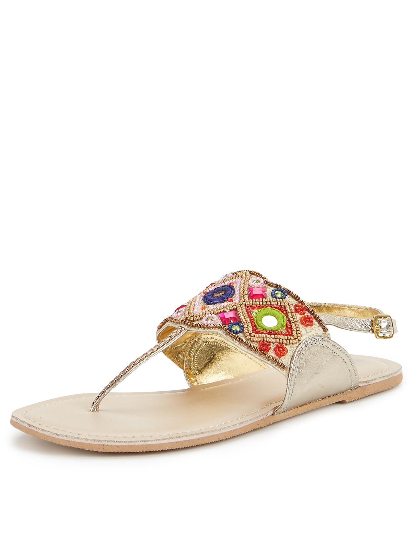 Shoe Box Embellished Toe Post Flat Sandals
