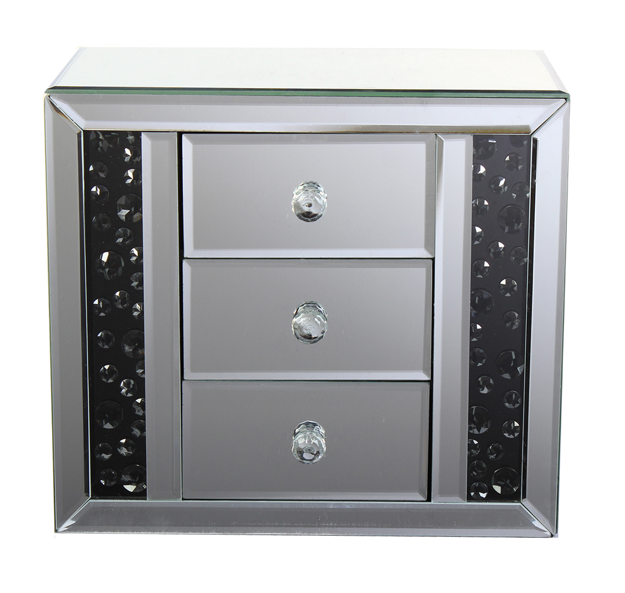 Smoke Crystal Large 3 Drawer Jewellery Box