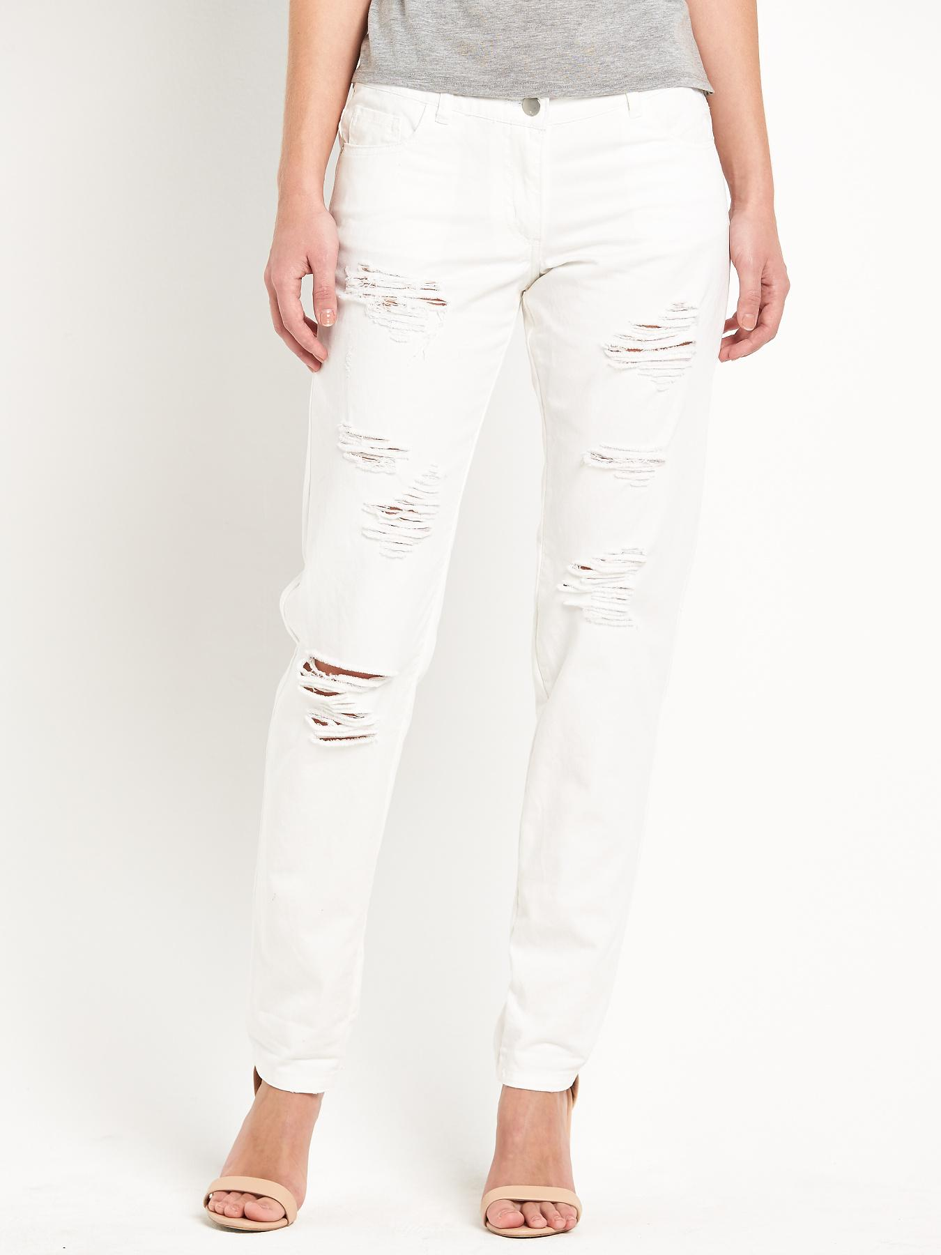 Love Label Austin White Ripped Boyfriend Jeans