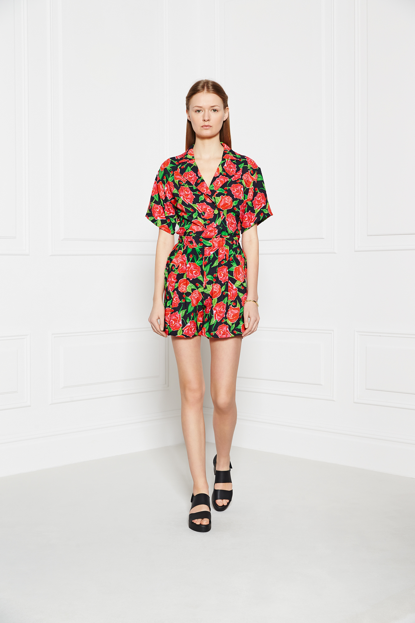 PPQ Black Floral Print Playsuit