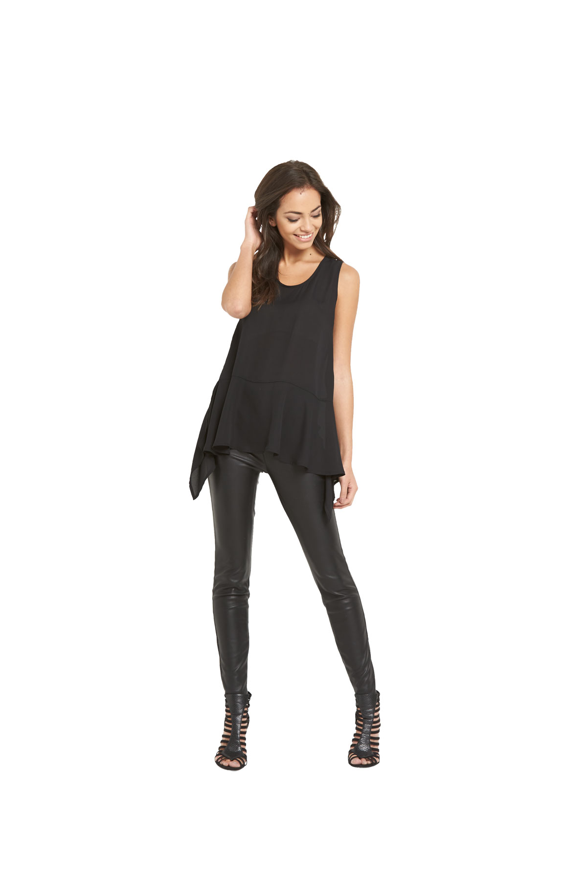 Lavish Alice Drape Hem Sleeveless Top