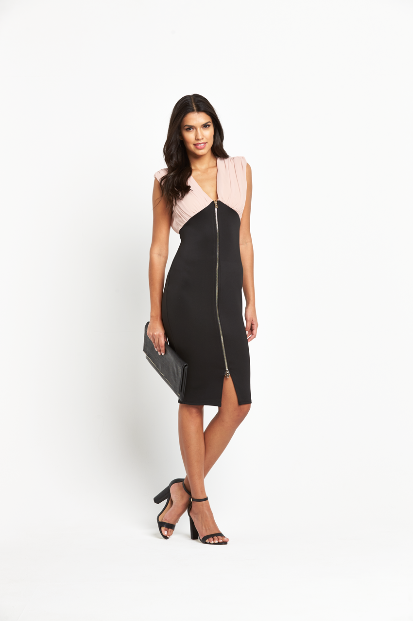 Ax Paris 2 In 1 Zip Front Midi Dress