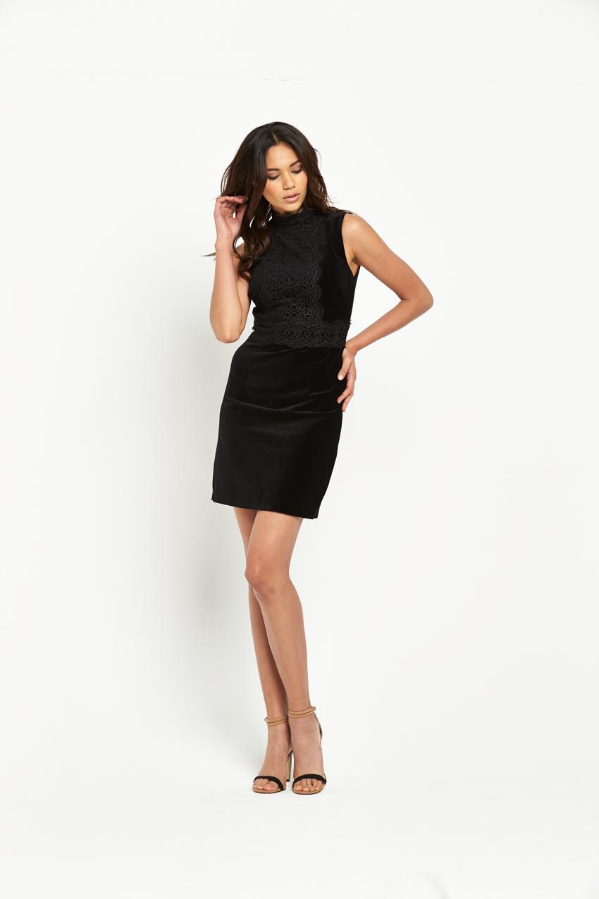 Warehouse Lace Collar Velvet Dress.
