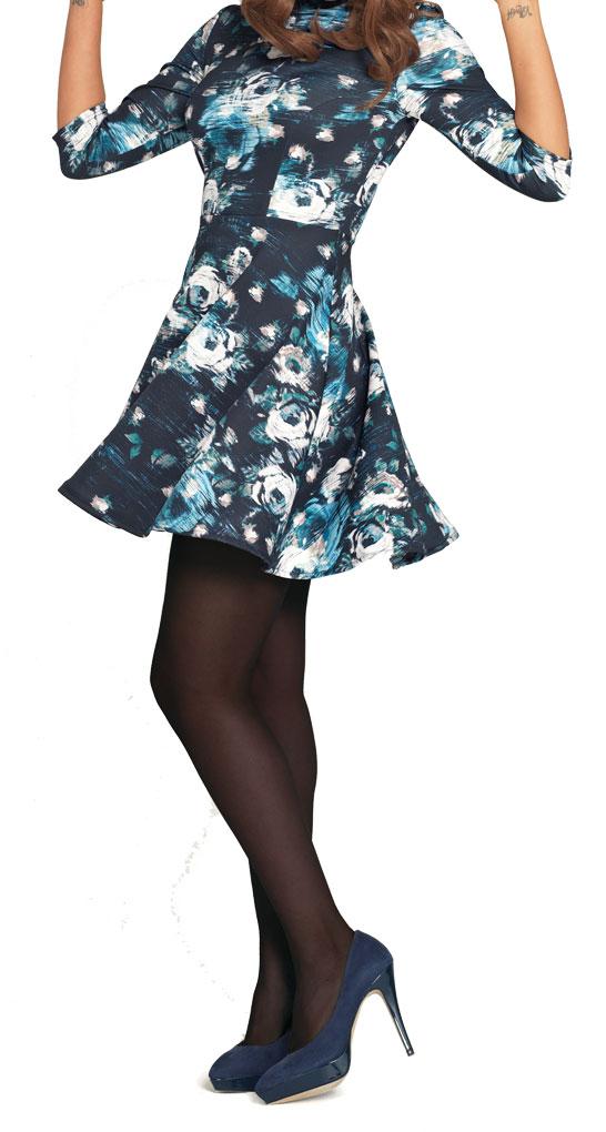 Very High Neck Floral Skater Dress.
