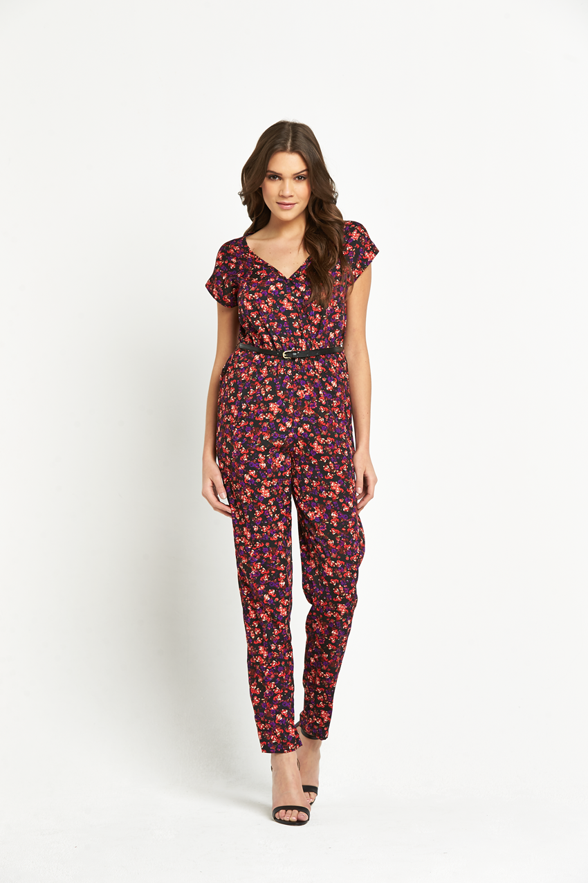Influence Printed Jumpsuit With Belt