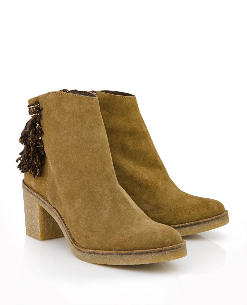 Miista Brianna Fringed Block Heel Ankle Boots