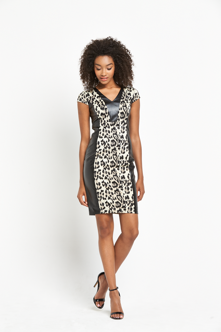 Definitions Animal Print Pu Dress
