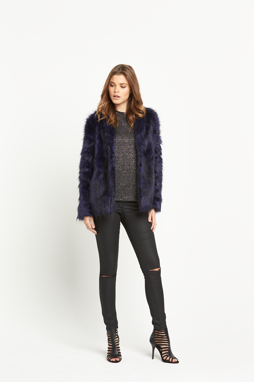 V By Very Blue Faux Fur Coat