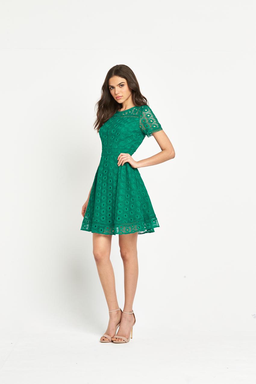 Warehouse Mixed Lace Prom Dress