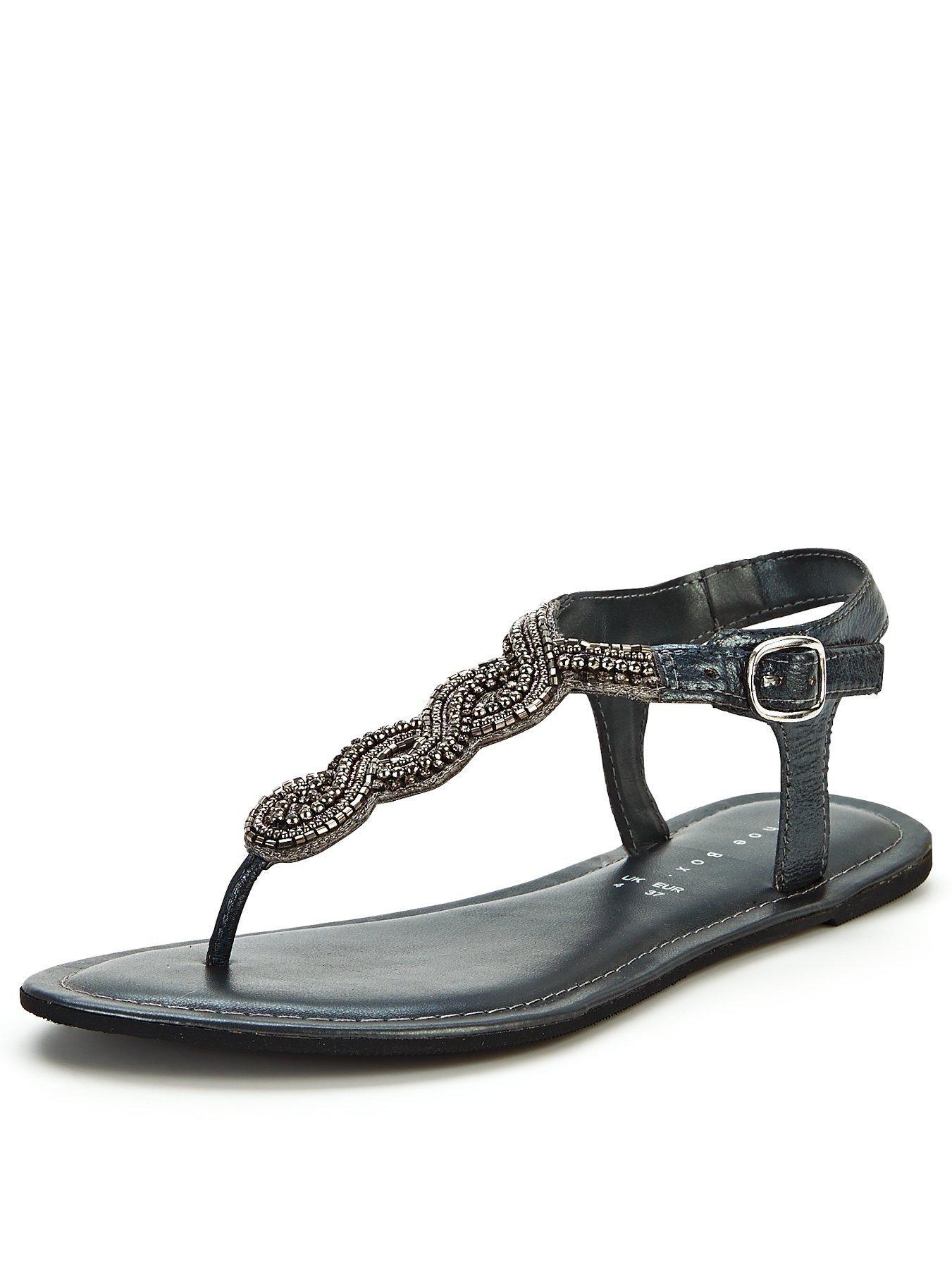 Black sandals littlewoods - Shoe Box Rae Embellished Twist Toe Post Sandals