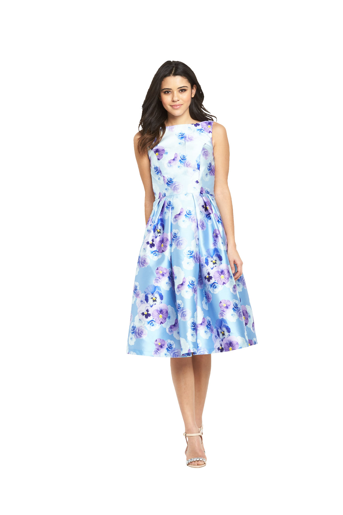 Chi Chi London Floral Midi Prom Dress.