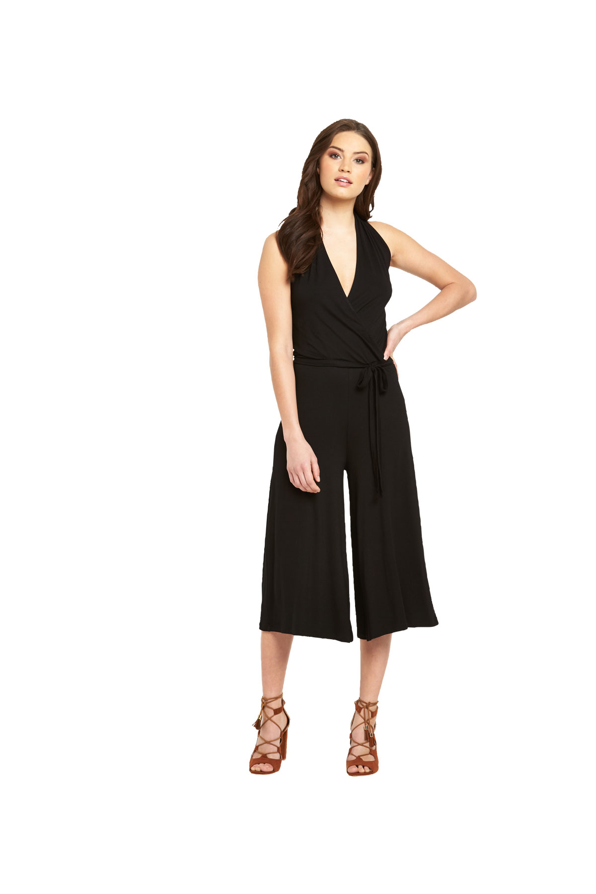 V By Very Halter Culotte Jersey Jumpsuit
