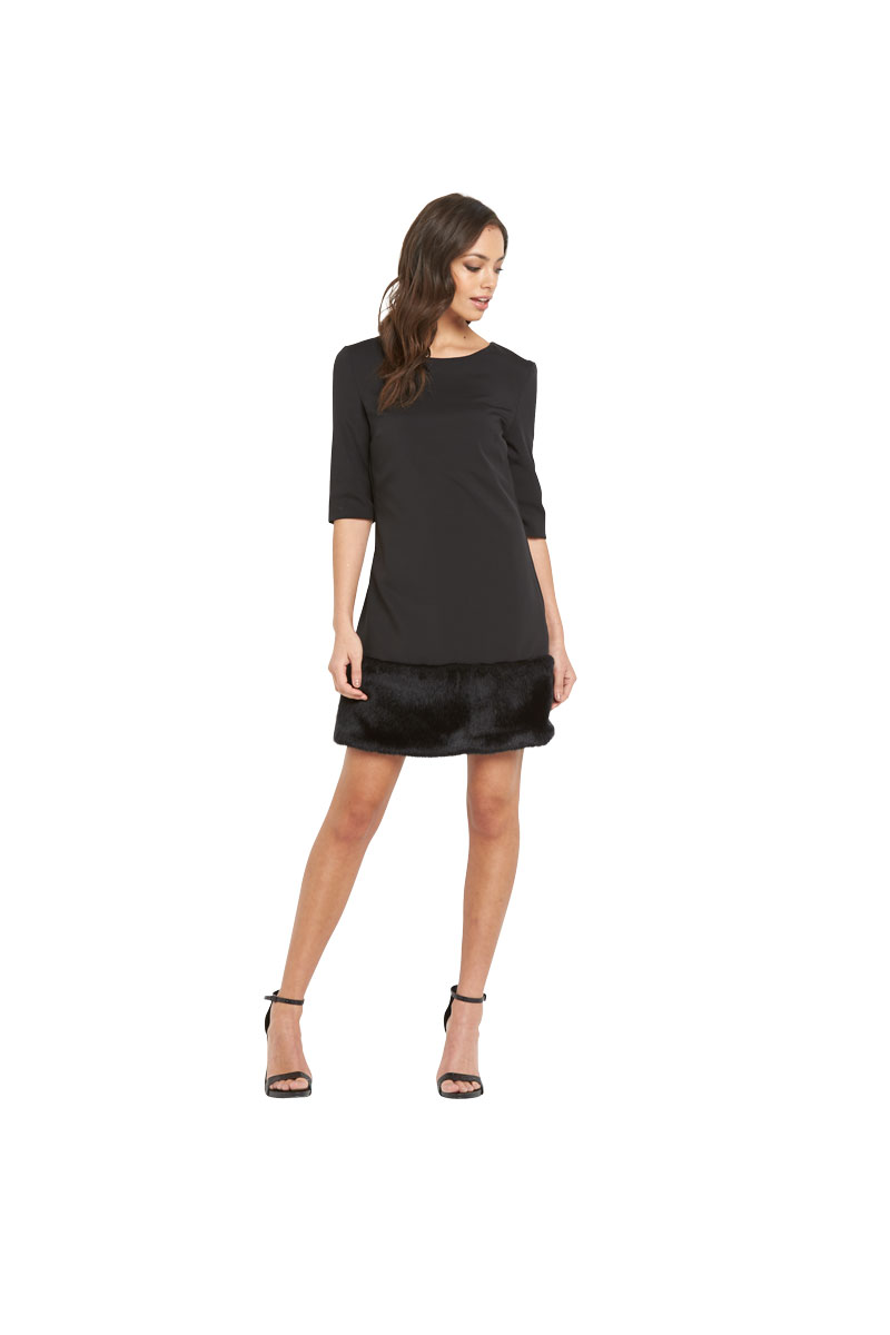 Lavish Alice Faux Fur Hem Shift Dress