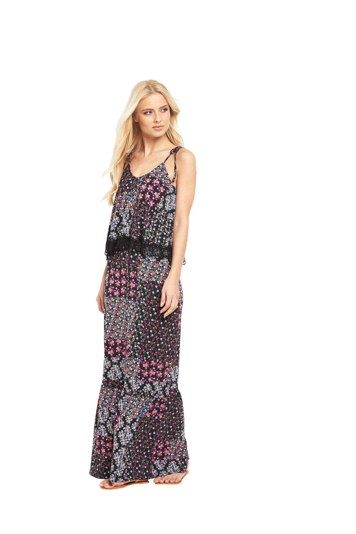 V By Very Lace Tier Jersey Maxi Dress