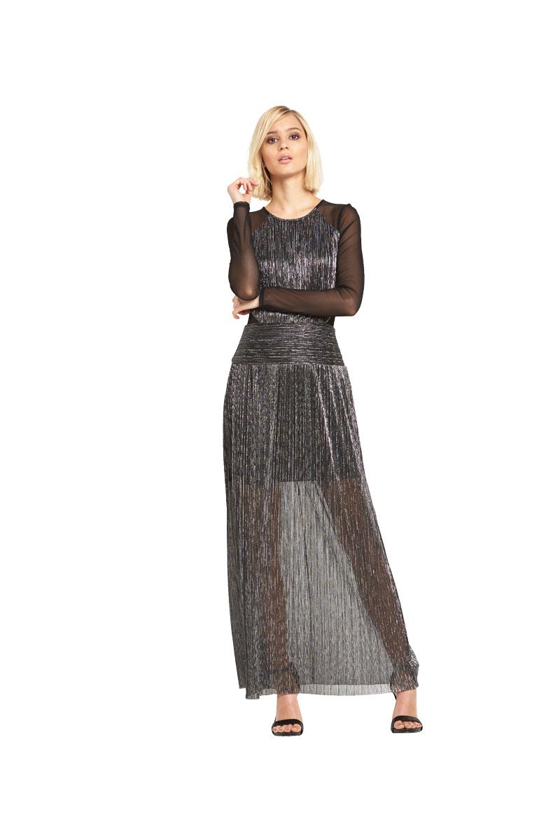 Miss Selfridge Mesh Sleeve Plisse Maxi Dress.
