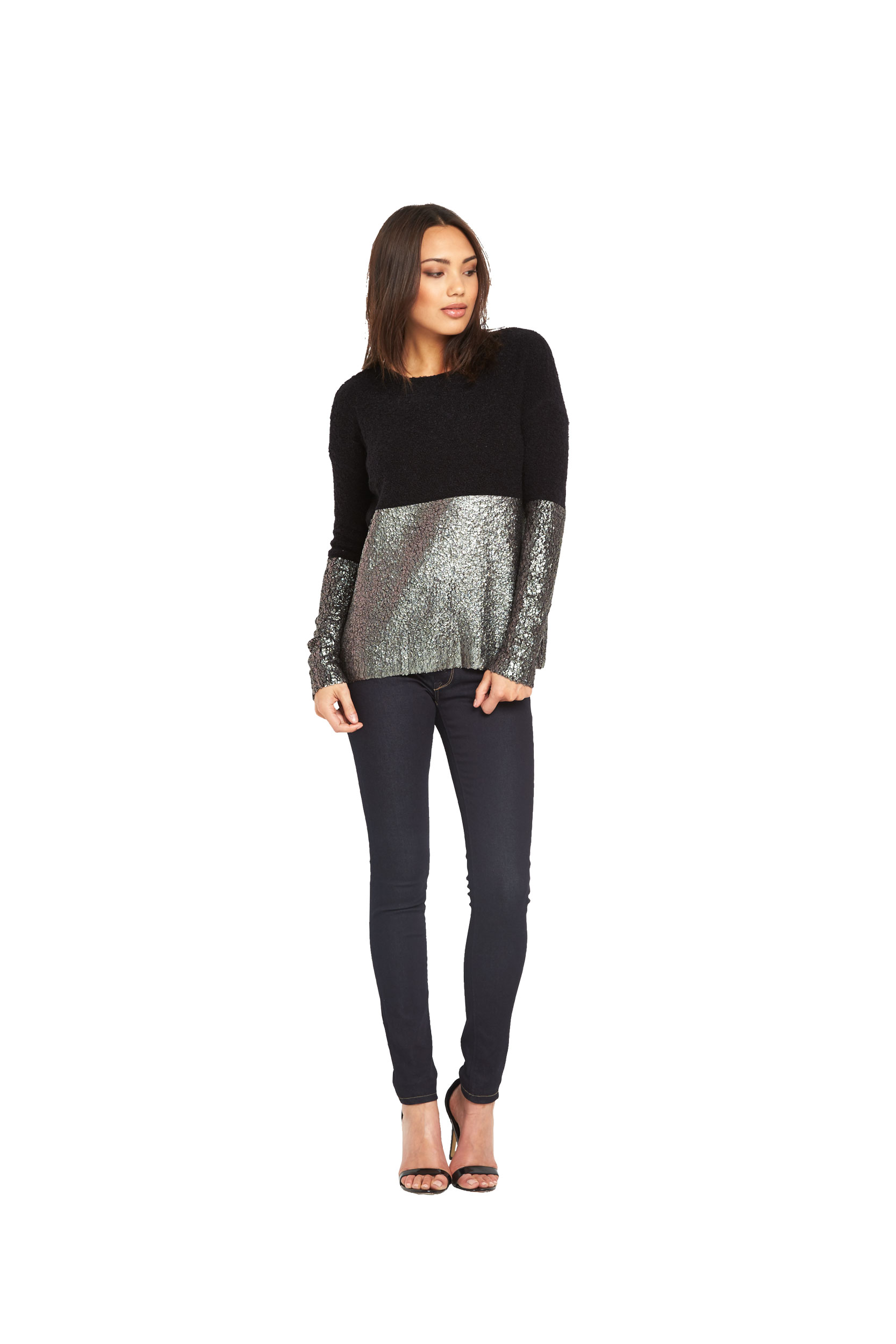 Replay Coated Gold Foil Shiny Knit Top