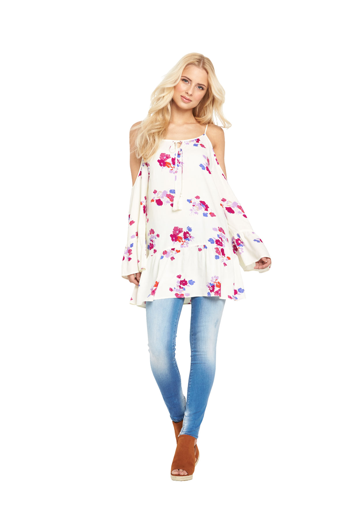 Mink Pink Falling Blooms Cold Shoulder Tunic Dress