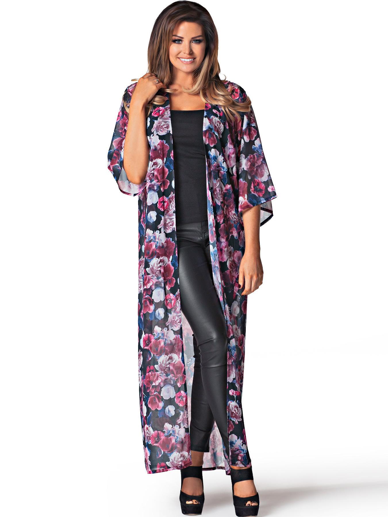 Jessica Wright Kimmy Longline Floral Print Kimono In Dark Floral