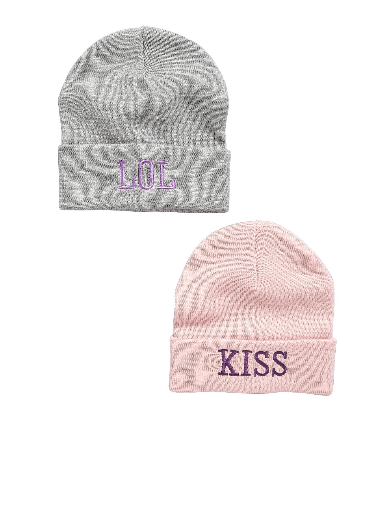 Girls Pack of Two Slogan Beanies