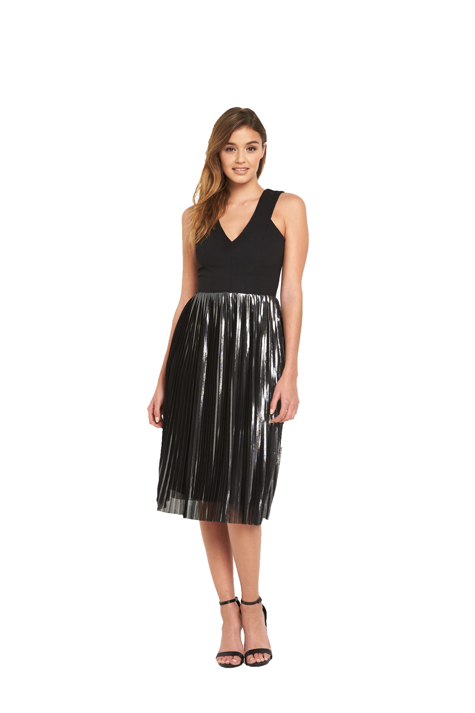 Warehouse Foiled Pleated Dress