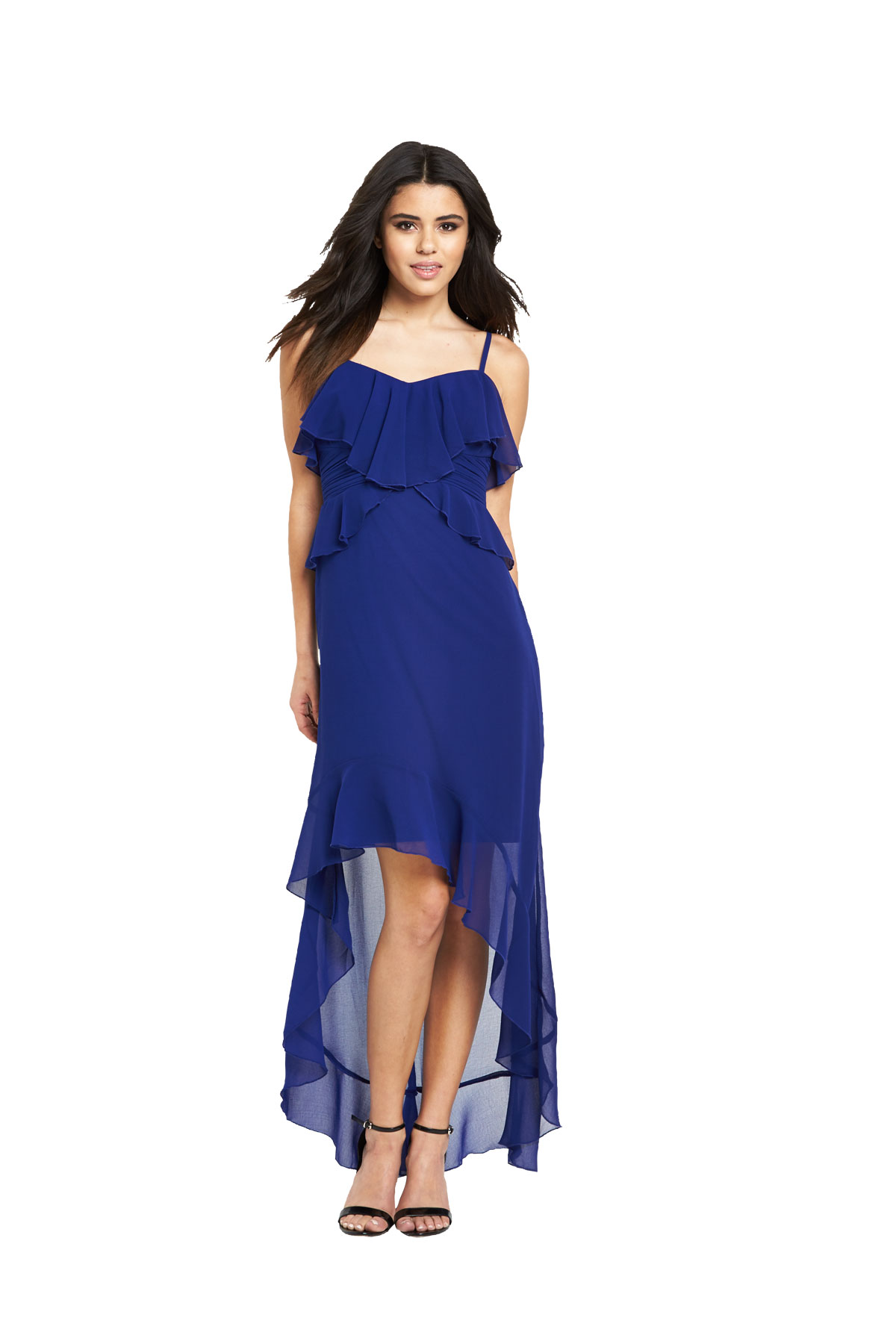 Lipsy Blue Ruffle Cami Hi Low Maxi Dress