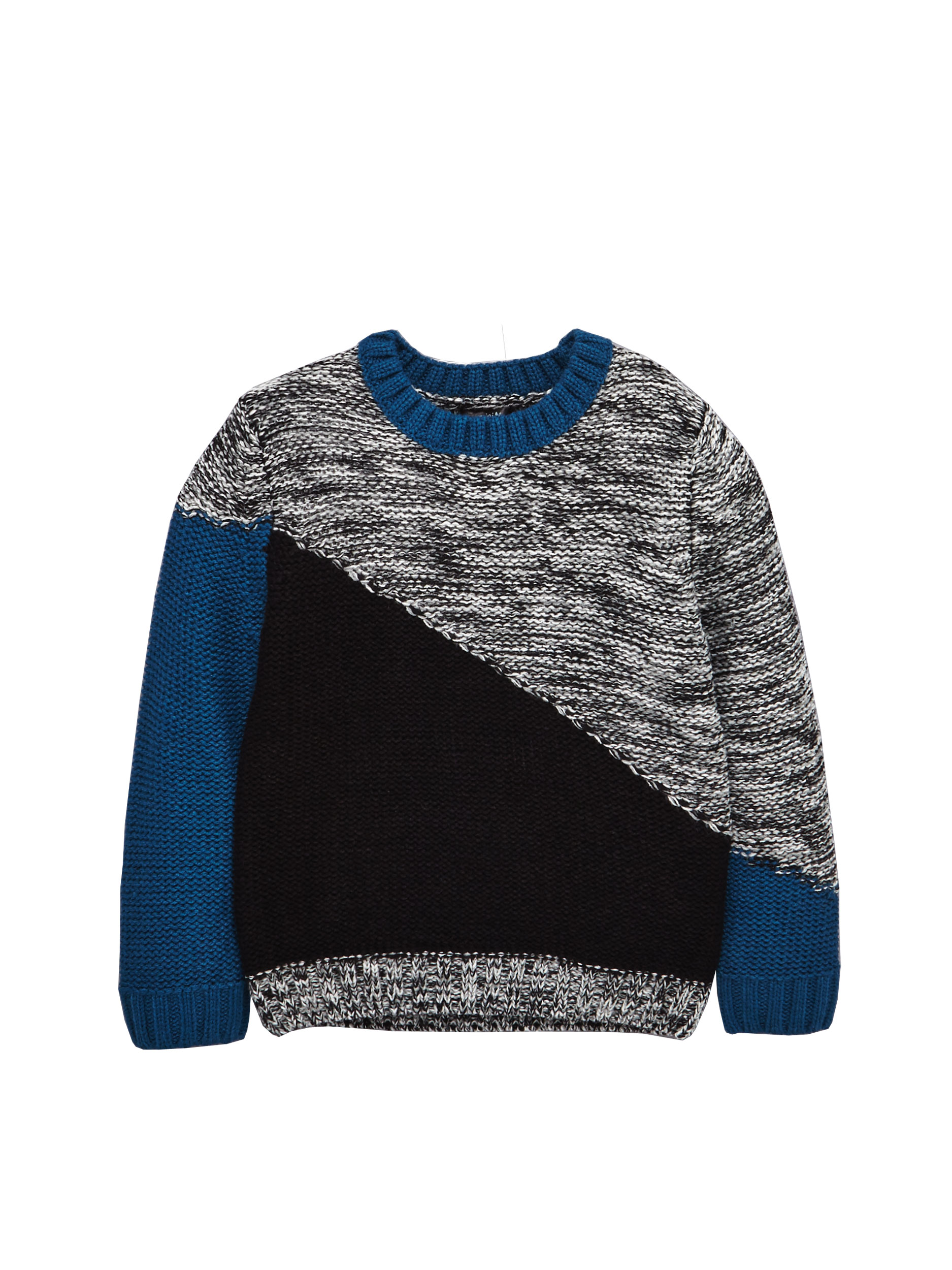 Mini V by VeryBoys Diagonal Colour Block Knitted Jumper.