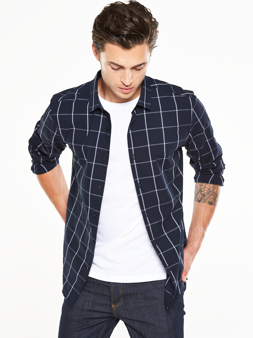 V by Very Long Sleeved Grid Denim Shirt