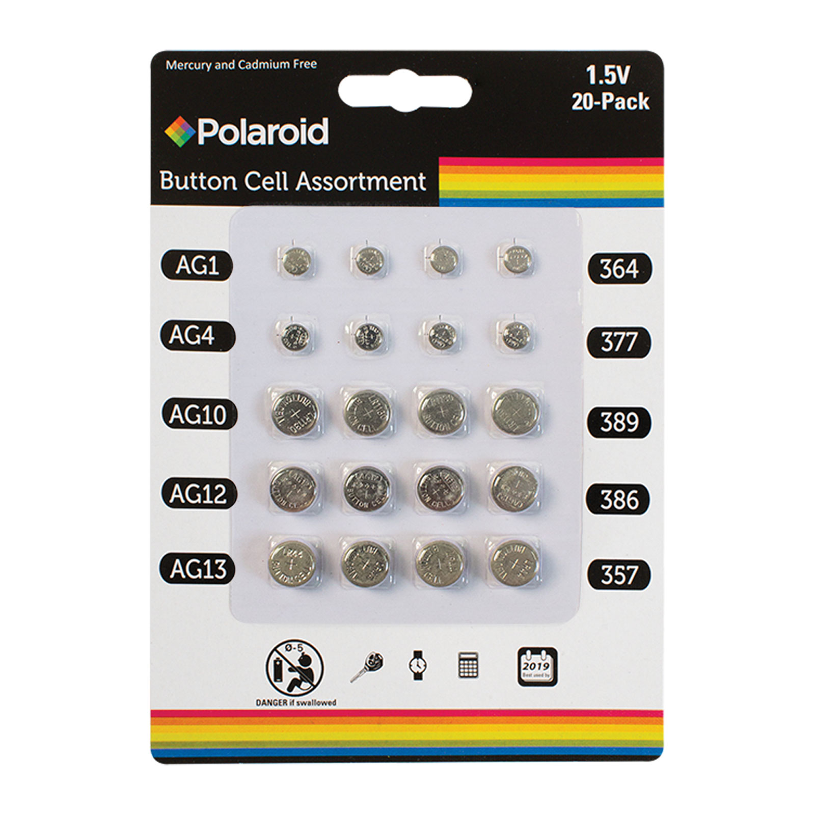 Polaroid 15V 20 Pack Button Cell Assortment Batteries