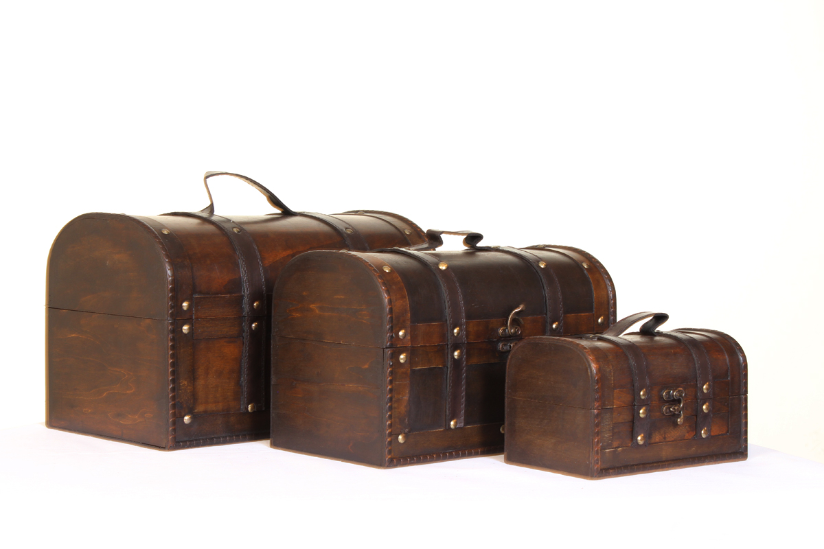 Set of 3 Steamer Trunk Treasure Chest Boxes