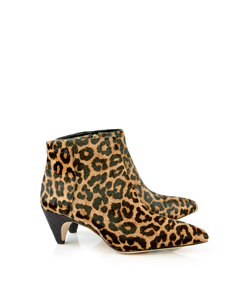 Sam Edelman Lucy Leopard Print Heeled Ankle Boots