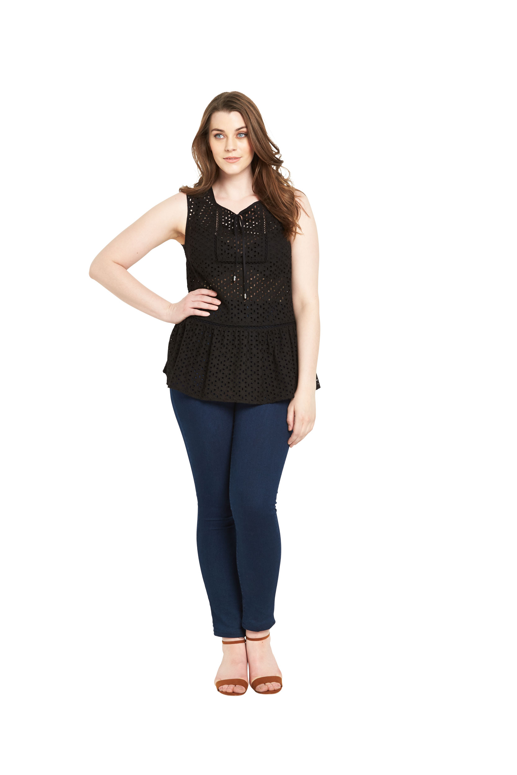 So Fabulous Broderie Tie Front Blouse