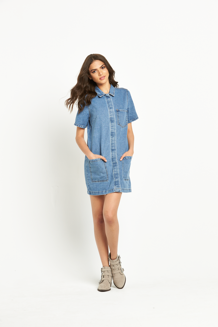 Vila Logy Short Sleeved Denim Tunic Dress