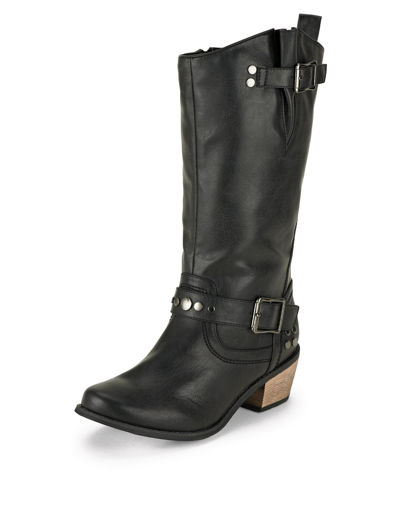 So Fabulous Merman Western Stud Detail Calf Extra Wide Fit Boots