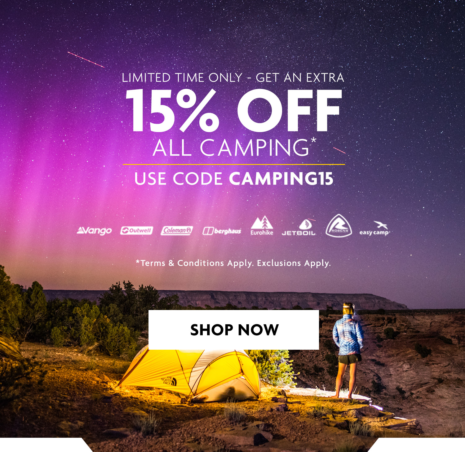 15% Off Camping